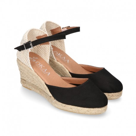 Women soft cotton wedge sandal espadrilles in BLACK color.