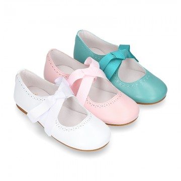 Girl soft nappa leather little Mary Jane shoes angel style with new design.