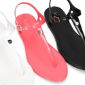 Women T-Strap jelly shoes classic sandal style.
