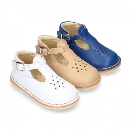 Nappa Leather kids T-strap shoes with buckle fastening and new perforated design.