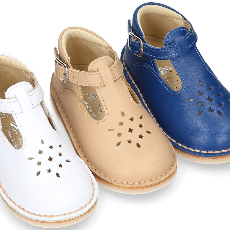 Nappa Leather kids T-strap shoes with buckle fastening and ...