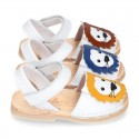 Little LYON soft leather Menorquina sandals with hook and loop strap.