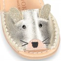 Little MOUSE Metal leather Menorquina sandals with hook and loop strap.