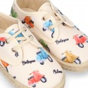 New MOTORCYCLES design canvas Laces up style espadrille shoes for kids.