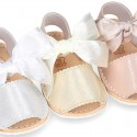 Metal leather Menorquina sandals with ANGEL style design.