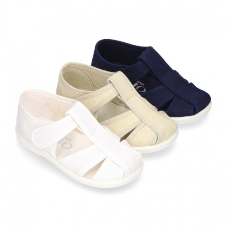Kids T-cotton canvas STRAP SANDAL style shoes with hook and loop strap.