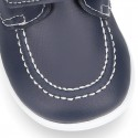 Washable leather kids Boat shoes laceless.
