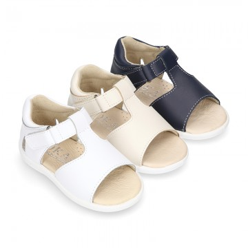 T-Strap Washable leather Sandal shoes with hook and loop closure.