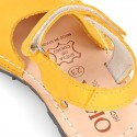 SOFT NOBUCK leather Menorquina sandals with hook and look strap.