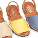 SOFT NAPPA combined leather Menorquina sandals with rear strap.