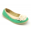 Stretch ballet flat shoes with flower detail in linen.