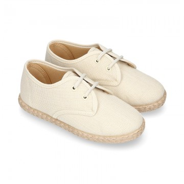 IVORY LINEN canvas kids Bamba espadrille type shoes.