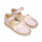 METAL MAKE UP PINK canvas espadrille shoes with FLOWER design and hook and loop strap.