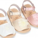 SOFT NACAR leather girl Menorquina sandals with FLOWER design.