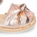 Metal Nappa leather girl Menorquina sandals with BOW design.