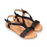BLACK Suede Leather sandal shoes with GLITTER finishes.
