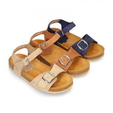 Nobuck leather sandal shoes BIO style to dress with buckles design.