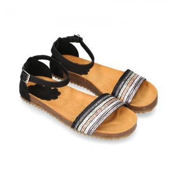 BLACK Metal bride leather girl sandal shoes BIO style to dress.