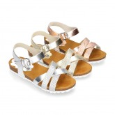 Metal bride leather girl sandal shoes BIO style to dress.