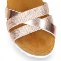Sandalia Niña Mayor vestir tipo BIO en piel trenzada metalizada.