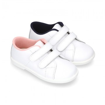 Washable Nappa leather tennis shoes laceless for little kids.