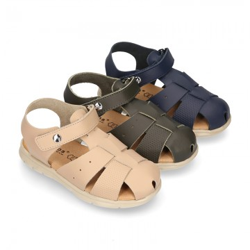 SOFT Leather sandals CASUAL style with hook and loop strap for kids.