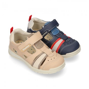 SPORT Leather sandals with hook and loop strap for kids.