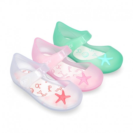 Jelly shoes Ballet flat style with STARFISH design and velcro strap.