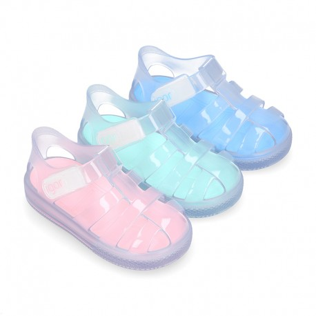 CRYSTAL Tennis style kids jelly shoes with hook and loop strap for Beach and Pool.