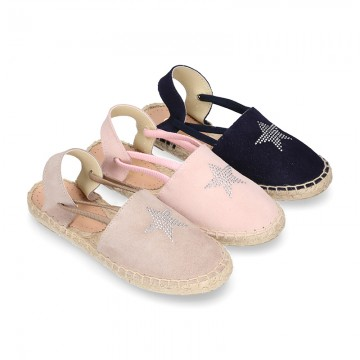 SHINY STARS Girl suede leather espadrilles shoes with elastic bands.