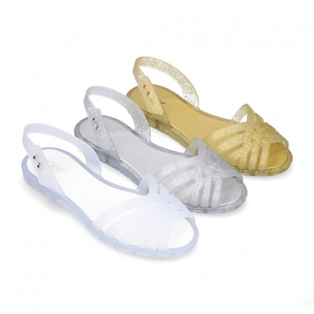 Women Ballet flat style jelly shoes sandal style for the Beach and Pool.