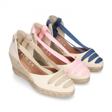 Cotton canvas girl espadrilles shoes Valenciana style with THREE COLORS RIBBONS design.