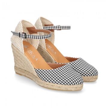 Women VICHY design cotton canvas wedge espadrille shoes.