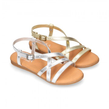 METAL leather sandal shoes with straps design for girls.