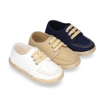 Cotton canvas boat shoes espadrilles style.