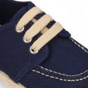 Cotton canvas boat shoes espadrilles style.