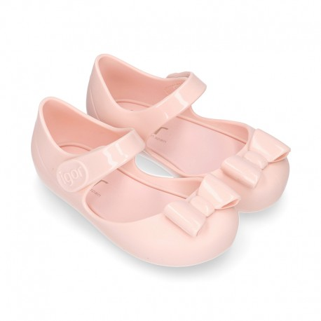 Jelly shoes Ballet flat style with ribbon and hook and loop strap in MAKE UP PINK.
