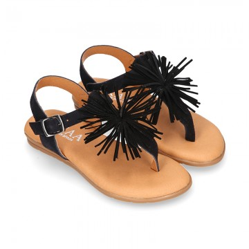 BLACK leather sandal shoes with POMPON design for girls.