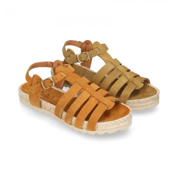 Suede leather T-strap sandal shoes espadrille style.