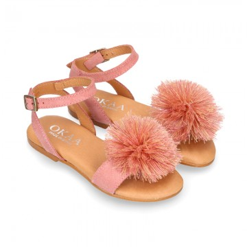 Suede leather girl sandal shoes with POMPON design in PINK color.