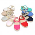 Cotton canvas little espadrille shoes in colors for girls.