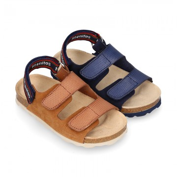 Leather sandals BIO style with hook and loop strap for kids.