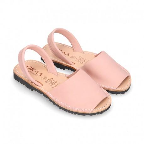 Menorquina niños tira en piel NOBUCK SUAVE en color rosa.