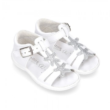 Washable leather T-Strap sandals with STARS for little girls.