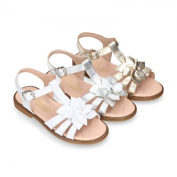 METAL and white Nappa leather Girl sandal shoes with FLOWER design.