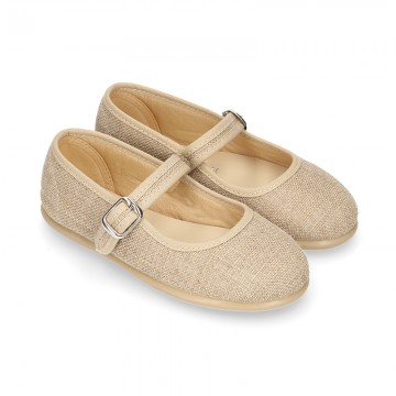 NATURAL LINEN Stylized little Girl Mary Jane shoes.