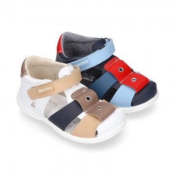 Washable leather Sandal shoes for little kids with crossed straps, hook and loop strap and EXTRA FLEXIBLE outsole.