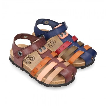 Nappa Leather sandals BIO style with hook and loop strap and crossed straps design for kids.