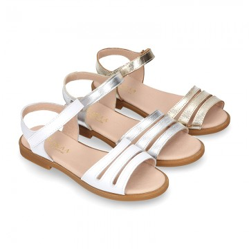 METAL and white Nappa leather Girl sandal shoes with hook and loop closure.