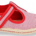 Stripes print Cotton canvas T-Strap espadrille shoes with hook and loop strap.